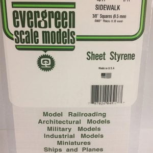 "Evergreen .040″ Thick 3/8"" Square Sidewalk Opaque White Polystyrene 4517"