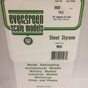 "Evergreen .040″ Thick 1/8"" Square Tile White Polystyrene Sheet EVE 4503"