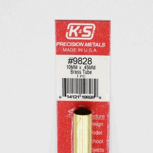 10mm OD X .45mm Wall Round Brass Tube Pack of 1 300mm Long K&S Engineering 9828