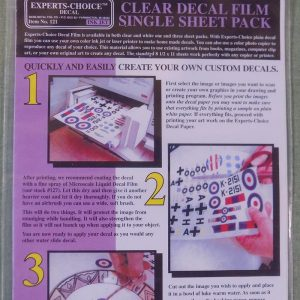 Expert Choice Decal Film Clear for Inkjet Printers Single Sheet BMF 121