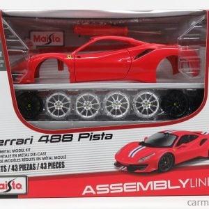 Maisto Ferrari 488 Pista Red Diecast Model Building Kit 1:24 Scale 39135