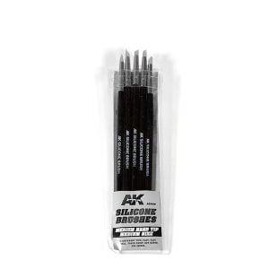 AK Interactive Pack of 5 Silicone Brushes Medium Hard Tip Medium AKI 9086